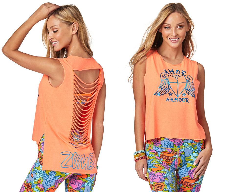 Orange You Hot ~ size Medium Zumba Love Slashed Hi Lo Tank XL