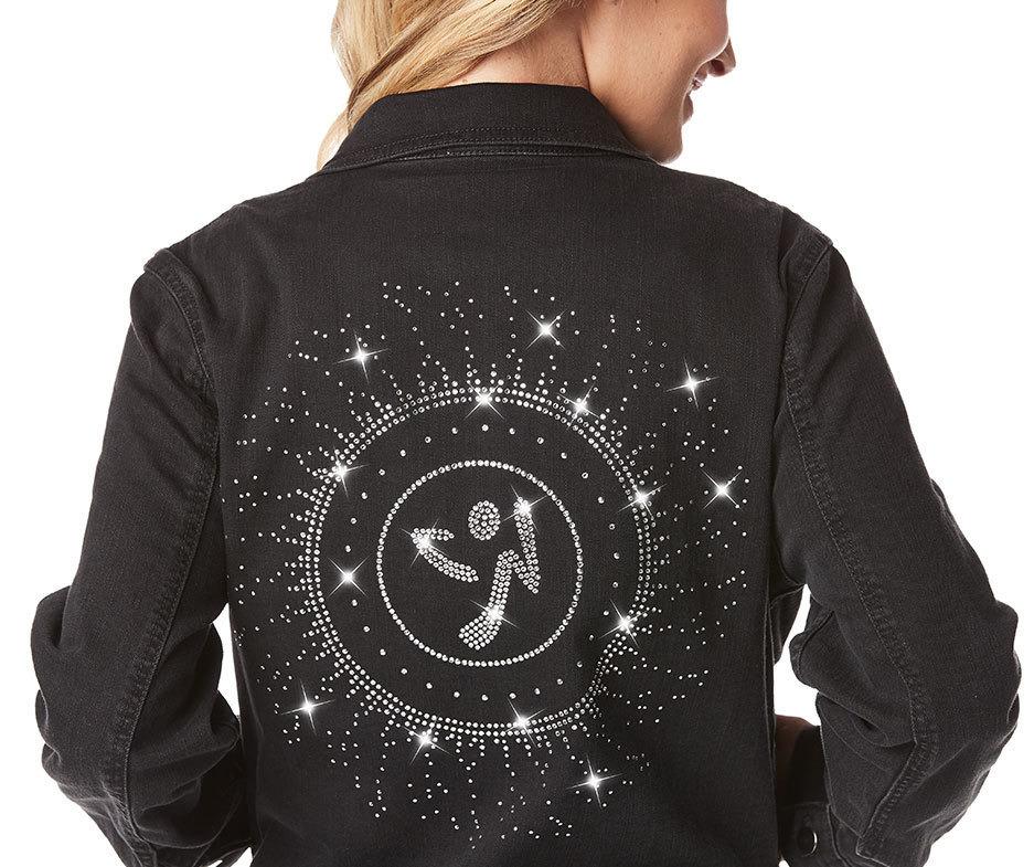 Zumba® Black Denim Jacket with Swarovski® Crystals